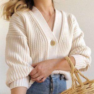 Everlane Texture Cotton Crop Cardigan Chunky Knit Size XL